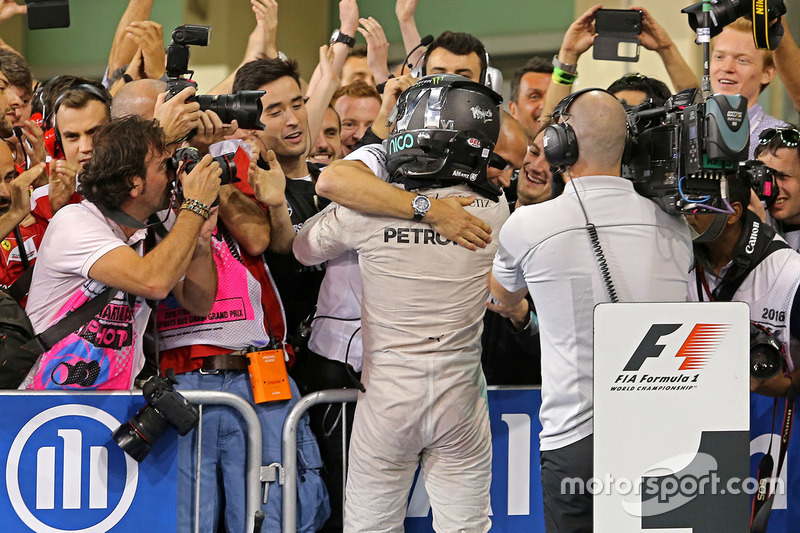 Second place and new world champion Nico Rosberg, Mercedes AMG Petronas F1 celebrates in parc ferme