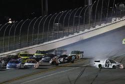 Crash: Christopher Bell, Kyle Busch Motorsports, Toyota; Brett Moffitt, Red Horse Racing, Toyota