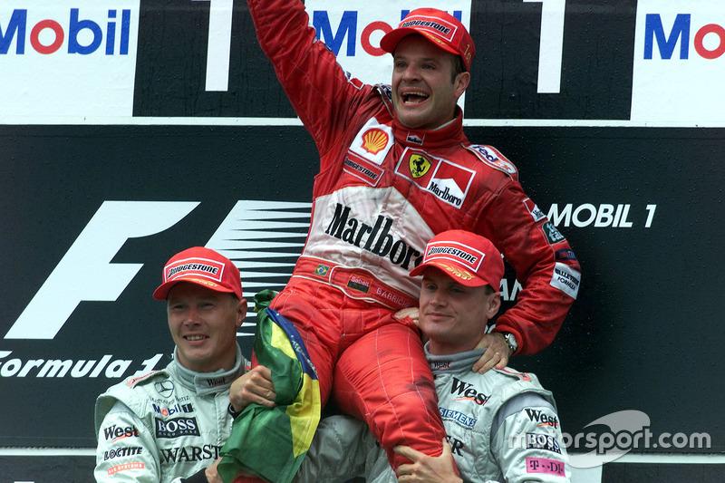 Em 2000, Rubens Barrichello largou em 18º, mas venceu o GP da Alemanha, marcado por chuva que ia e voltava, invasão de pista e intervenções do safety car