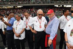 Niki Lauda, jefe no ejecutivo de Mercedes AMG F1 y Najib Razak, primer ministro malasio