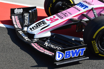 Force India VJM11 nose and front wing during