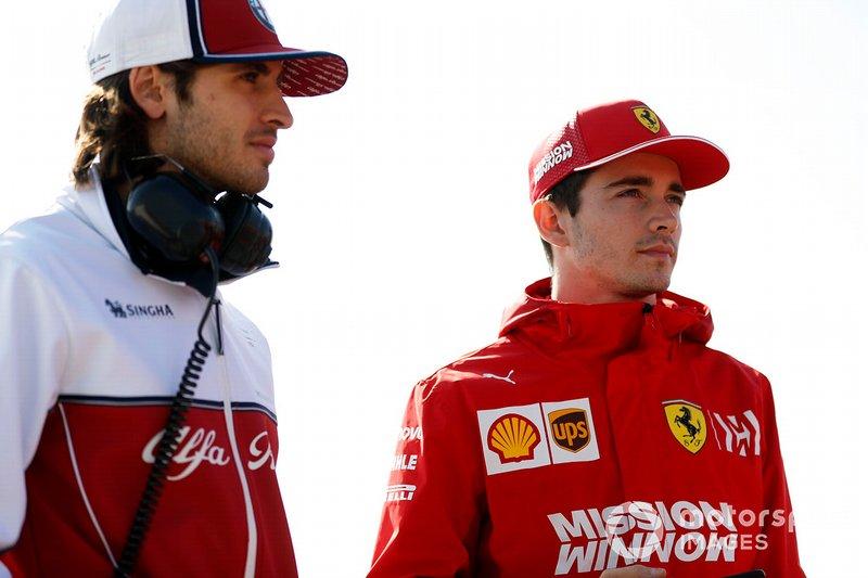 Antonio Giovinazzi, Alfa Romeo Racing e Charles Leclerc, Ferrari