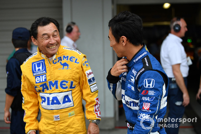 Satoru Nakajima and Takuma Sato at Legends F1 30th Anniversary Lap Demonstration