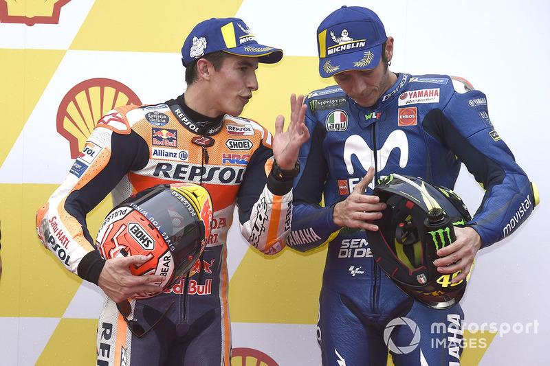 Polesitter Marc Marquez, Repsol Honda Team, 3. Valentino Rossi, Yamaha Factory Racing