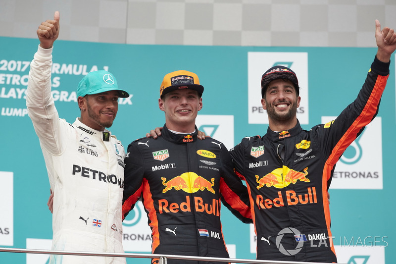 second place Lewis Hamilton, Mercedes AMG F1, Max Verstappen, Red Bull Racing, race winner, third place Daniel Ricciardo, Red Bull Racing