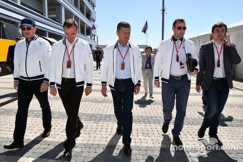 Veniamin Kondrytyev, Governor of Krasnodar Region, Dmitry Kozak, Deputy Prime Minister of the Russian Federation and Sergey Vorobyev, Sochi Autodrom Deputy General Director