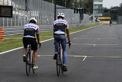 Sergio Perez, Sahara Force India and Esteban Ocon, Sahara Force India F1 cycle the track