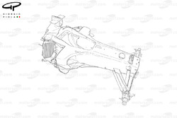 Ferrari F2005 chassis detail, note orientation of radiators