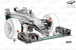 Mercedes F1 W07 Hybrid nariz delantera