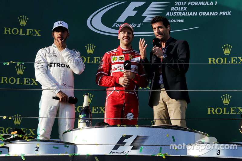 Sebastian Vettel, Ferrari; Lewis Hamilton, Mercedes AMG F1; Mark Webber
