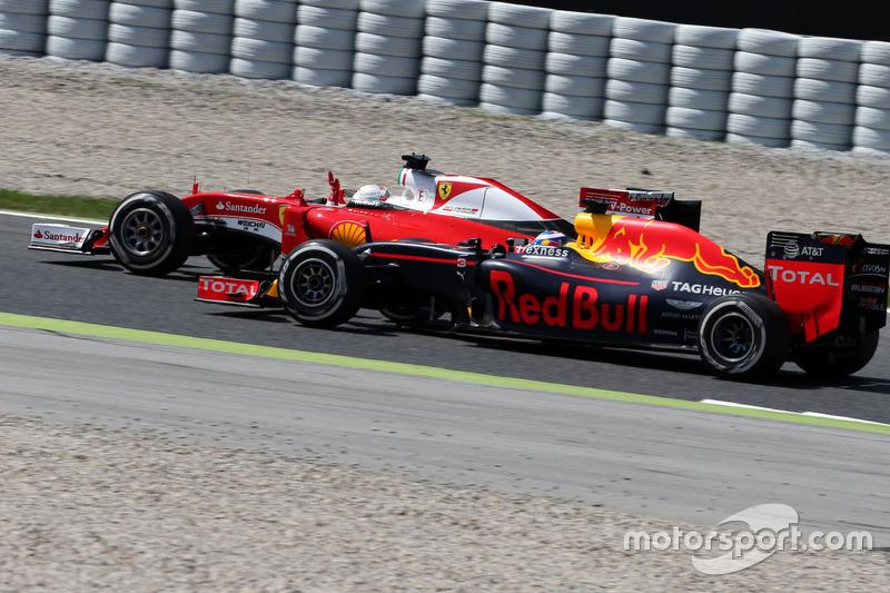 Sebastian Vettel, Scuderia Ferrari y Daniel Ricciardo, Red Bull Racing