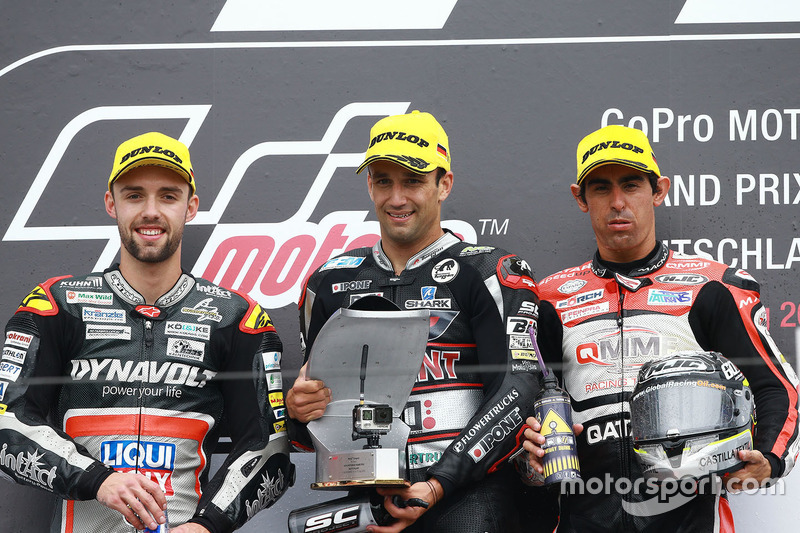 Podium: 1. Johann Zarco, Ajo Motorsport; 2. Jonas Folger, Dynavolt IntactGP; 3. Julian Simon, QMMF Racing Team