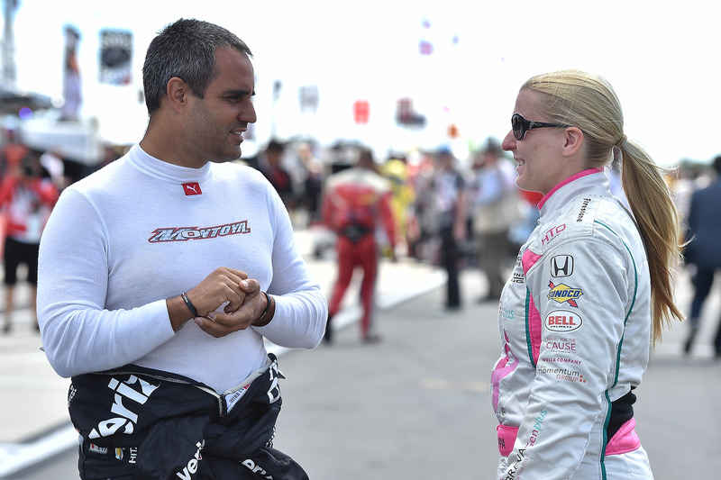 Juan Pablo Montoya, Team Penske Chevrolet, Pippa Mann, Dale Coyne Racing Honda