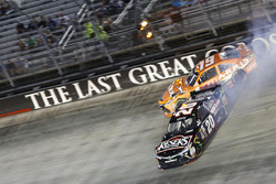Crash for Daniel Suarez, Joe Gibbs Racing Toyota, Erik Jones, Joe Gibbs Racing Toyota