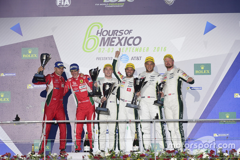 LM GTE Pro podium: first place Richie Stanaway, Darren Turner, Aston Martin Racing, second place Gianmaria Bruni, James Calado, AF Corse, third place Marco Sorensen, Nicki Thiim, Aston Martin Racing