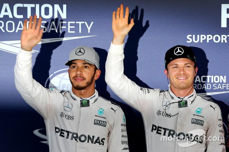 Qualifying: second place Lewis Hamilton, Mercedes AMG F1; Polesitter Nico Rosberg, Mercedes AMG F1