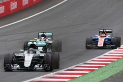 Nico Rosberg, Mercedes AMG F1 W07 Hybrid leads team mate Lewis Hamilton, Mercedes AMG F1 W07 Hybrid