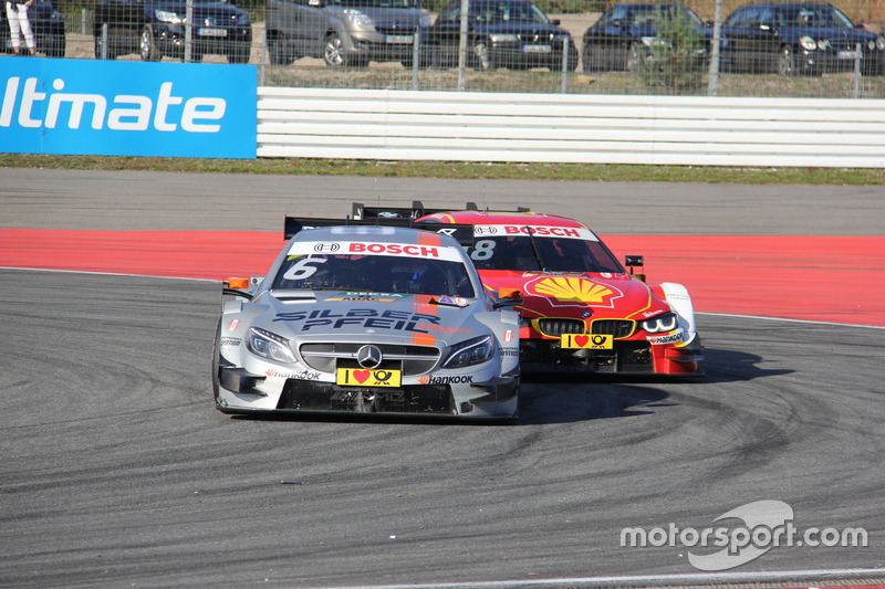 Robert Wickens, Mercedes-AMG Team HWA, Mercedes-AMG C63 DTM; Augusto Farfus, BMW Team MTEK, BMW M4 DTM