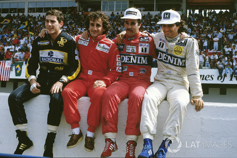 Les candidats au titre 1986 : Ayrton Senna, Lotus, Alain Prost, McLaren, Nigel Mansell, Williams, Nelson PIquet, Williams