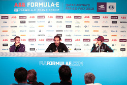 Sam Bird, DS Virgin Racing, Jean-Eric Vergne, Techeetah, Nicolas Prost, Renault e.Dams, in the Friday press conference