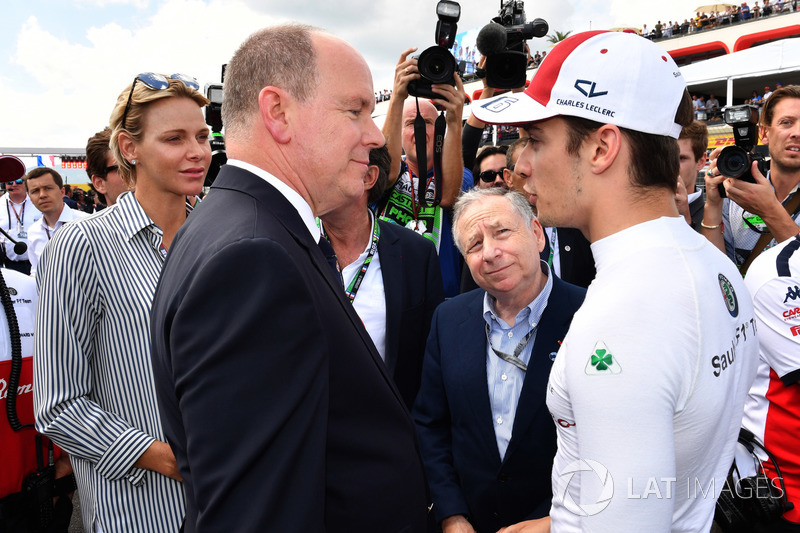 HSH Prince Albert of Monaco, Charles Leclerc, Sauber on the grid