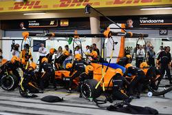 Fernando Alonso, McLaren MCL33 pit stop