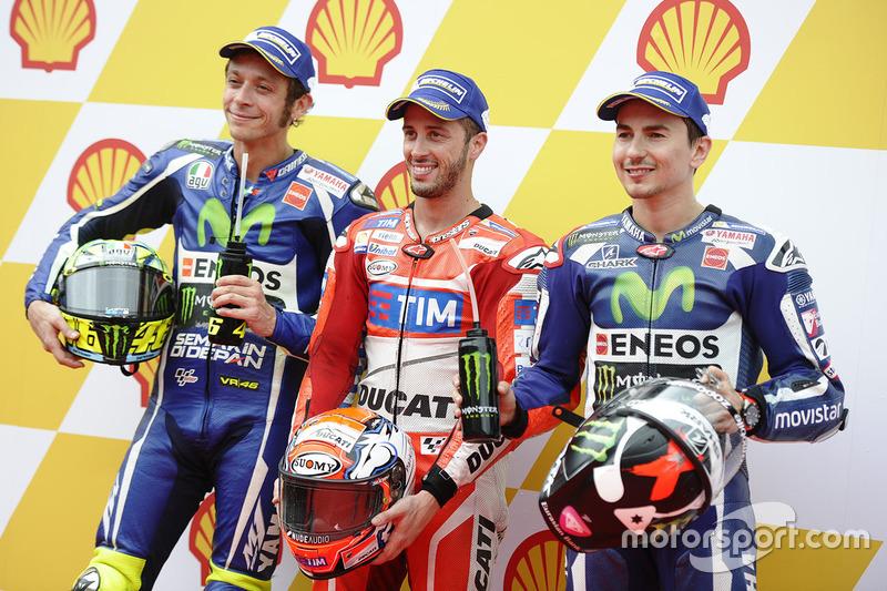 Polesitter Andrea Dovizioso, 2. Valentino Rossi, 3. Jorge Lorenzo