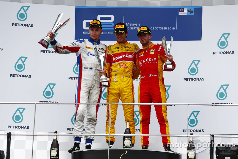 Podium: Antonio Giovinazzi, PREMA Racing Sergey Sirotkin, ART Grand Prix and Norman Nato, Racing Engineering