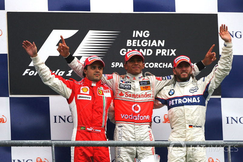 Podium: Felipe Massa, Ferrari, second; Lewis Hamilton, McLaren, race winner; Nick Heidfeld, BMW Sauber F1, third