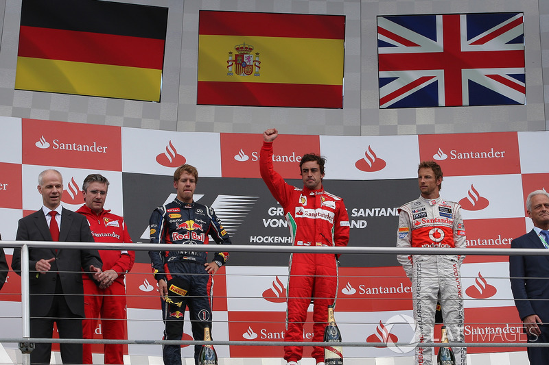 2012: 1. Fernando Alonso, 2. Sebastian Vettel, 3. Jenson Button
