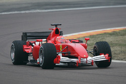 Michael Schumacher, shakes down the new 2006 Ferrari F1 car