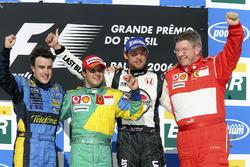 Podium: race winner Felipe Massa, Ferrari, second place Fernando Alonso, Renault, third place Jenson Button, Honda, Ross Brawn, Ferrari
