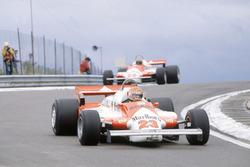 Bruno Giacomelli, Alfa Romeo 179B leads Mario Andretti, Alfa Romeo 179B