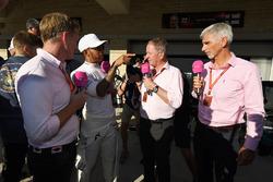 Simon Lazenby, Sky TV, Lewis Hamilton, Mercedes AMG F1, Martin Brundle, Sky TV and Damon Hill, Sky TV