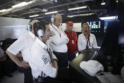 Toto Wolff, Executive Director Mercedes AMG F1, Dr Dieter Zetsche, CEO, Mercedes Benz, Niki Lauda, Non-Executive Chairman, Mercedes AMG F1, watch as Valtteri Bottas, Mercedes AMG F1, takes pole