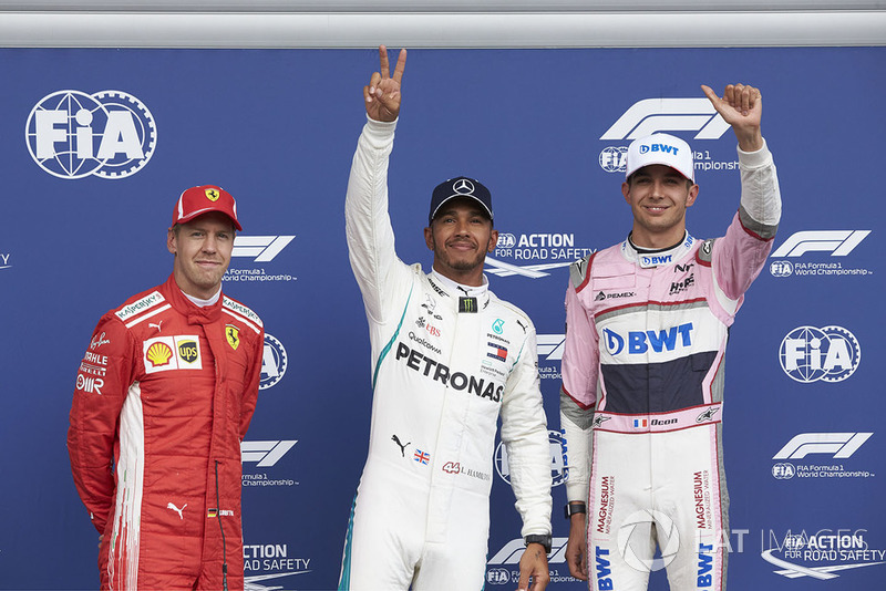 Sebastian Vettel, Ferrari, Lewis Hamilton, Mercedes AMG F1, y Esteban Ocon, Racing Point Force India
