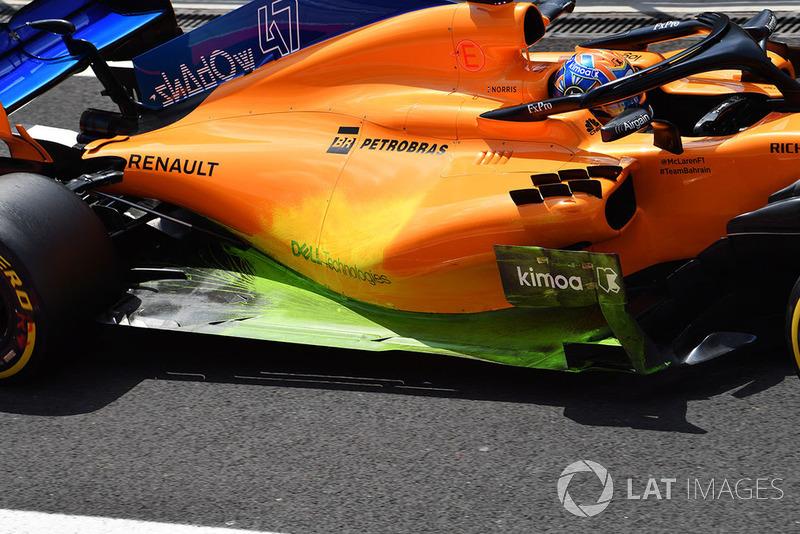 Más pruebas: parafina en el pontón y el suelo del McLaren MCL33