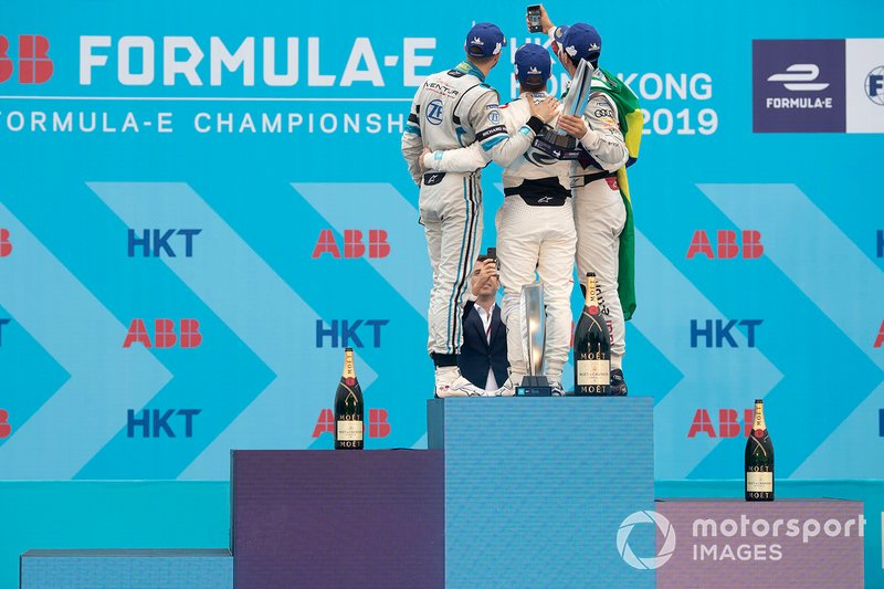 Lucas Di Grassi, Audi Sport ABT Schaeffler, 3rd position, takes a podium selfie with race winner Sam Bird, Envision Virgin Racing, Edoardo Mortara, Venturi Formula E, 2nd position