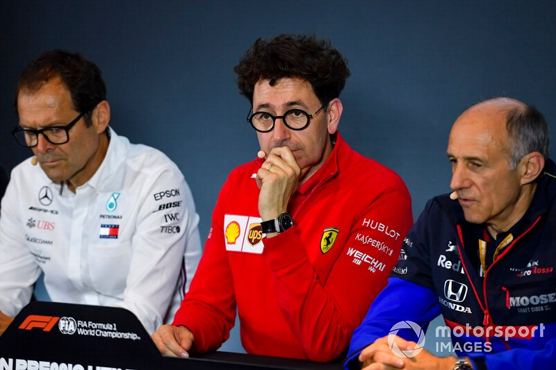 Aldo Costa, Technical Advisor, Mercedes AMG, Mattia Binotto, Team Principal Ferrari, and Franz Tost, Team Principal, in a Press Conference