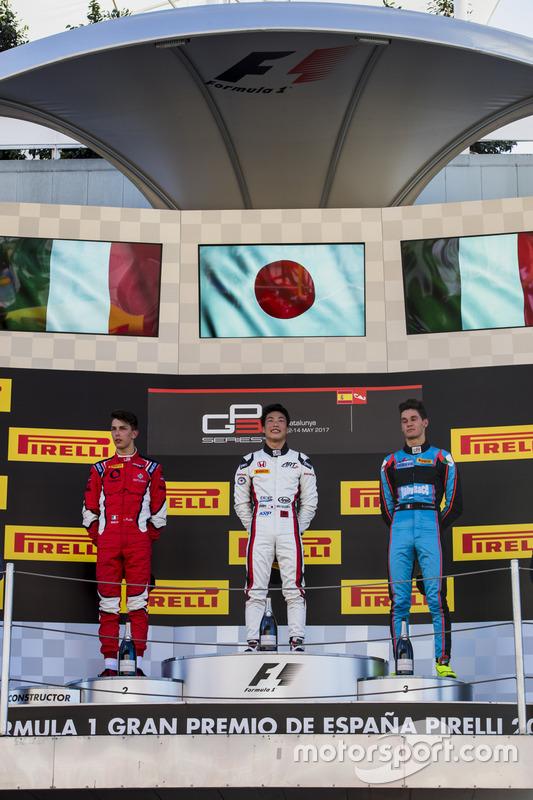Podium: race winner Nirei Fukuzumi, ART Grand Prix, second place Leonardo Pulcini, Arden International, third place Alessio Lorandi, Jenzer Motorsport