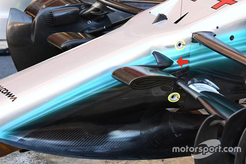 Avant de la Mercedes AMG F1 W08