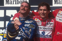 Podium: second place and world champion Nigel Mansell, Williams Renault, race winner Ayrton Senna, Mclaren Honda