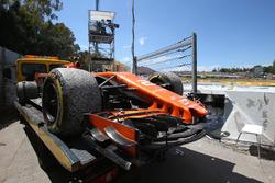 The car of race retiree Stoffel Vandoorne, McLaren MCL32 is recovered