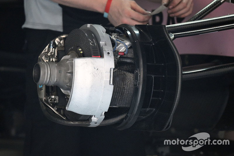 Force India VJM10 front wheel detail