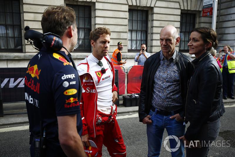 Christian Horner, Team Principal, Red Bull Racing, Sebastian Vettel, Ferrari, Adrian Newey, Chief Te