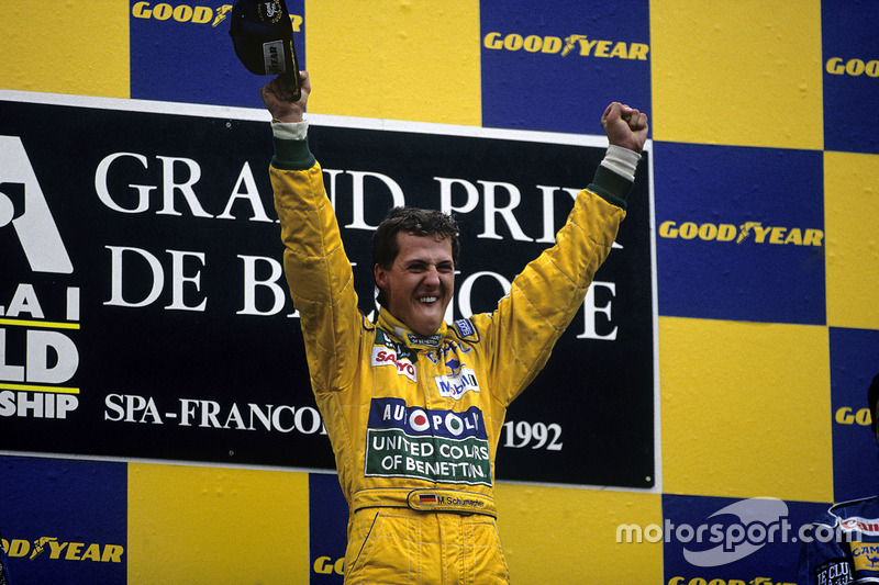 Podium: Race winner Michael Schumacher, Benetton