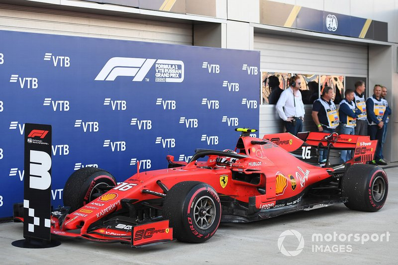 Charles Leclerc, Ferrari SF90, 3rd position, arrives in Parc Ferme