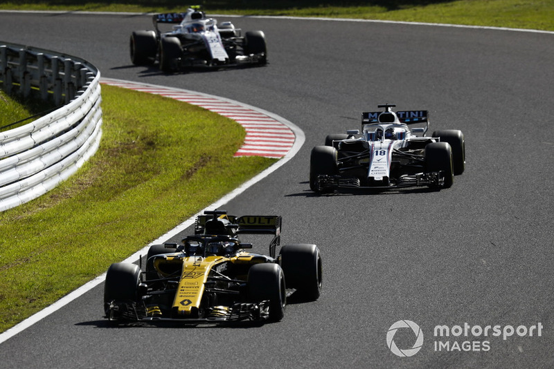 Nico Hulkenberg, Renault Sport F1 Team R.S. 18, Lance Stroll, Williams FW41, y Sergey Sirotkin, Williams FW41