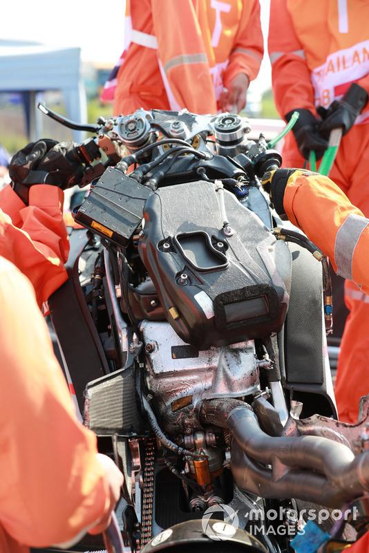Moto de Jorge Lorenzo, Ducati Team tras la caída