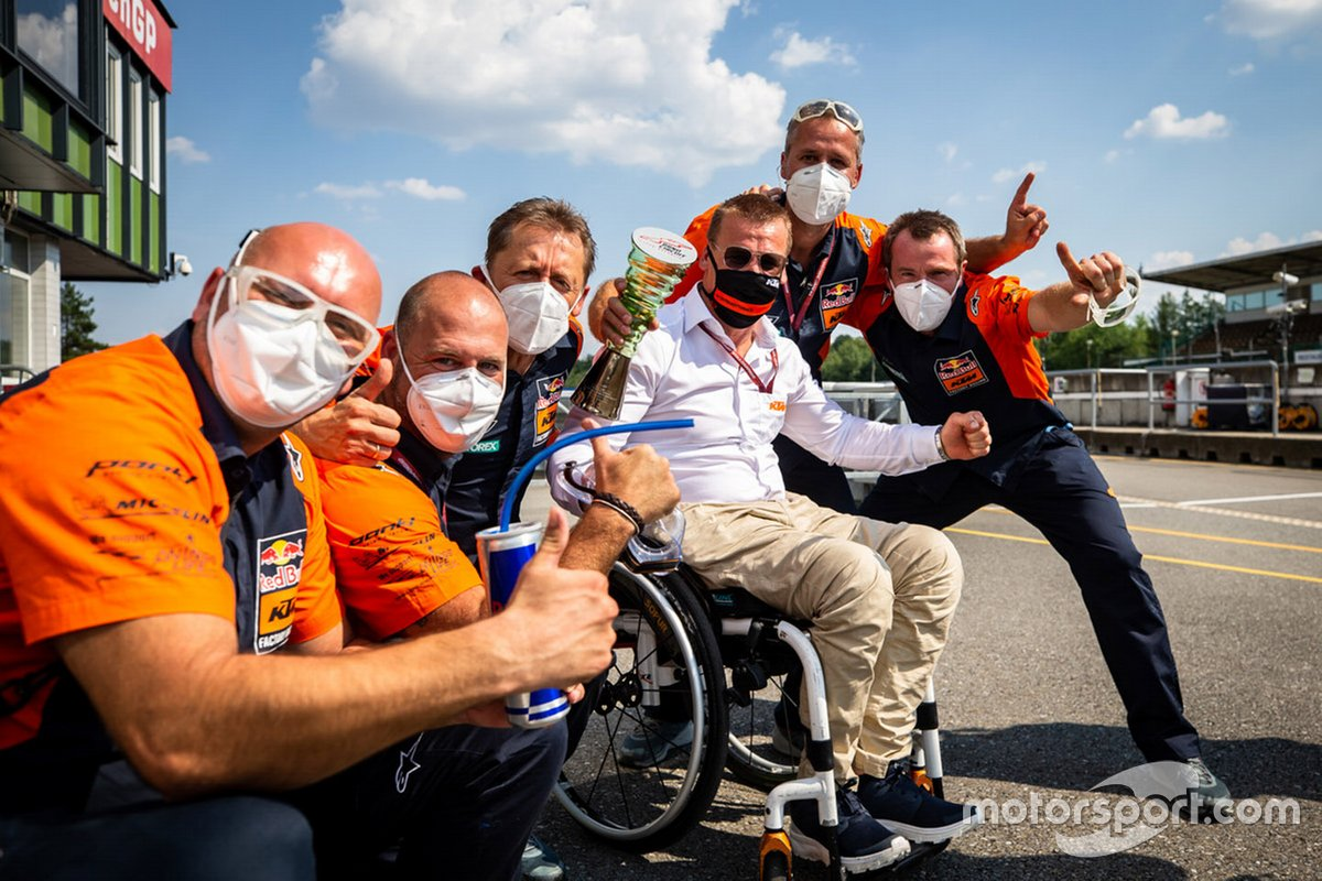 Red Bull KTM Factory Racing team members celebrate the victory